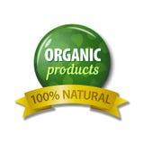 Label vert avec des produits biologiques de ` de mots - ` naturel de 100% Image stock