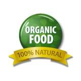 Label vert avec l'aliment biologique de ` de mots - ` naturel de 100% Photo libre de droits
