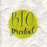 Label vert d'eco avec le bio produit des textes Vecteur Photographie stock libre de droits