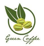 Label vert de café Images stock