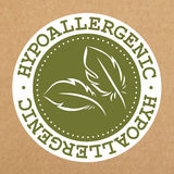 Label vert hypoallergénique, insigne avec des feuilles pour les produits sûrs d'allergie, objet de vecteur illustration de vecteur