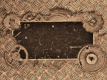 Label vide de Brown vieux dans des vitesses sur la texture de plat de diamant Image stock
