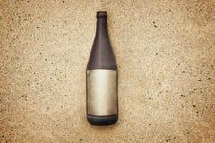 Label vide de message de bouteille Photographie stock