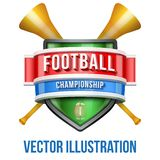 Label with vuvuzela for football sport competition Royalty Free Stock Images
