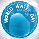 Label for Water Day Celebration with Water Splash over it, Vector Illustration. Round label with water splashed in it over a wave pattern commemorating the World Stock Photo