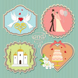 Label with wedding elements Stock Images