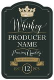 Label for whiskey with crown and ribbon. Vector label for whiskey premium quality in the figured frame with crown, ribbon and handwritten inscriptions on black Stock Photography