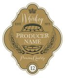 Label for whiskey with ears of barley and barrel vector illustration