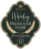 Label for whiskey with ears of barley. Vector label for whiskey in the figured frame with crown, ears of barley and handwritten inscription on black background Royalty Free Stock Photos