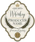 Label for whiskey with ears of barley. Vector label for whiskey in the figured frame with crown, ears of barley and handwritten inscription on light background Royalty Free Stock Image