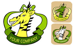 Label with wild zebra and ribbon in green yellow colors. Zoo logo or label with wild animal zebra and ribbon in green and yellow colors  three icons illustration Stock Image