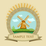Label windmill and grain Royalty Free Stock Photos