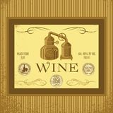 Label for wine. With winery, sack, vintage Stock Photo