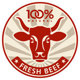 Label With The Head Of A Cow Stock Images