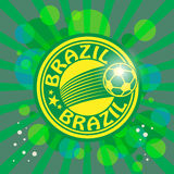 Label with word Brazil football. Label with word Brazil, football theme Stock Photo