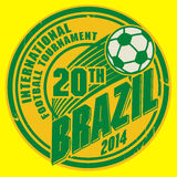Label with word Brazil football. Color illustration Royalty Free Stock Image