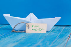 Label with the Words Bon Voyage which means go to trip. Label with Words Bon Voyage which means go to trip stock photos