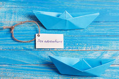 Label with the Words Sea aventure which means go to trip on the yacht Stock Images