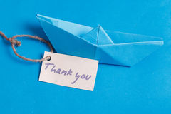 Label with the Words Thank you. Paper Boat with a sign. Label with Words Thank you. Paper Boat with a sign Royalty Free Stock Image