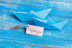 Label with the Words Thank you. Paper Boat with a sign. Label with the Word Thank you. Paper Boat with a sign Royalty Free Stock Photos