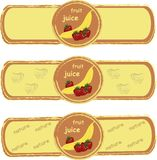 Label. Yellow banana, red strawberry on an orange background, the painting, the yellow frame Royalty Free Stock Images