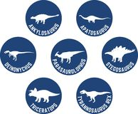Labeled Dinosaur Round Icon Set Deep Blue Stock Images