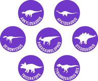 Labeled Dinosaur Round Icon Set Purple Royalty Free Stock Photography