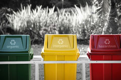 Labeled recycle bins, selective color Stock Photo