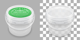 Labeled transparent empty plastic bucket for storage. Vector packaging mockup. Labeled transparent empty plastic bucket for storage of food, honey or ice cream stock illustration