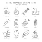 Labeling icons set. Food and cosmetics labeling icons set. Thin lines vector illustration of package marking elements. Dangerous components to avoid in healthy Royalty Free Stock Photos