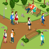 Labeling people call names gossip concept. People. In park labels hanging on neck. Flat 3d isometry isometric style web site app icon set concept vector Royalty Free Stock Photos