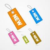 Labels, étiquettes avec des ficelles et titre nouveau Image stock