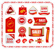 Labels. Vector red sale design elements Royalty Free Stock Image