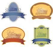 Labels. Four  label illustrations with a farm scene Stock Photo