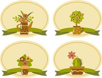 Labels. With the plants in pots Stock Image