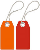 Labels. Orange and red labels with a chain Royalty Free Stock Images