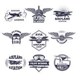 Labels at aircrafts theme. Vector monochrome illustrations of airplanes. Airplane and aircraft emblem vintage Royalty Free Stock Photography