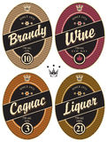 Labels for alcoholic. Set of retro labels for various alcoholic beverages royalty free illustration