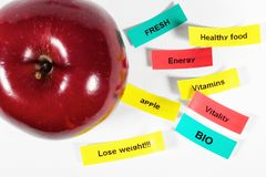 Labels with apple. Strips of labels with apple - diet concept Royalty Free Stock Image