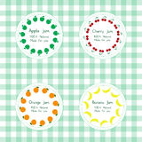 Labels for apple, cherry, orange, banana jam Royalty Free Stock Image