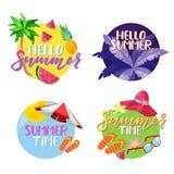 Labels, autocollants ou étiquettes d'été Bonjour ensemble d'emblème de cercle de vecteur d'été Vacances, voyage, éléments de conc illustration libre de droits