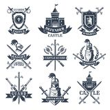 Labels or badges set with pictures of medieval knights, helmets and swords stock illustration