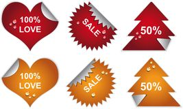 Labels badges and stickers with drops. Royalty Free Stock Photo
