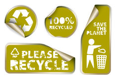 Labels badges and stickers with recycle icons Royalty Free Stock Image