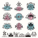 Labels for bakery, cafe, pizzeria Stock Images