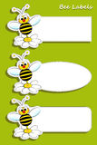 Labels with bee, illustration for kids Royalty Free Stock Photography
