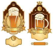 Labels for beer. Set of labels for beer glasses Royalty Free Stock Photos