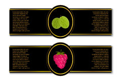 Labels for berry jam or juice. Set of luxury premium quality black and golden labels for berry jam or juice Stock Photos