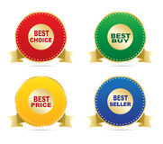 Labels - Best choice, best buy, bestseller, best price Royalty Free Stock Photo