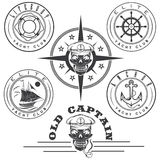 Labels with boat ,captain skull ,wheel,anchor and Royalty Free Stock Images